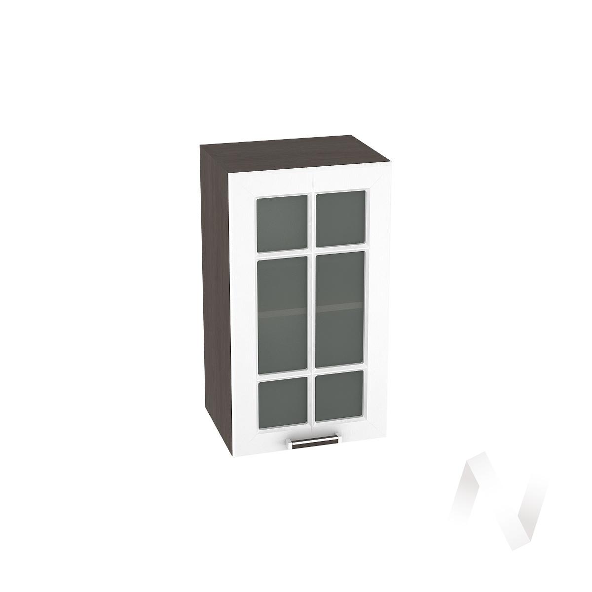 """Кухня """"Прага"""": Шкаф верхний со стеклом 400, ШВС 400 (белое дерево/корпус венге)"""