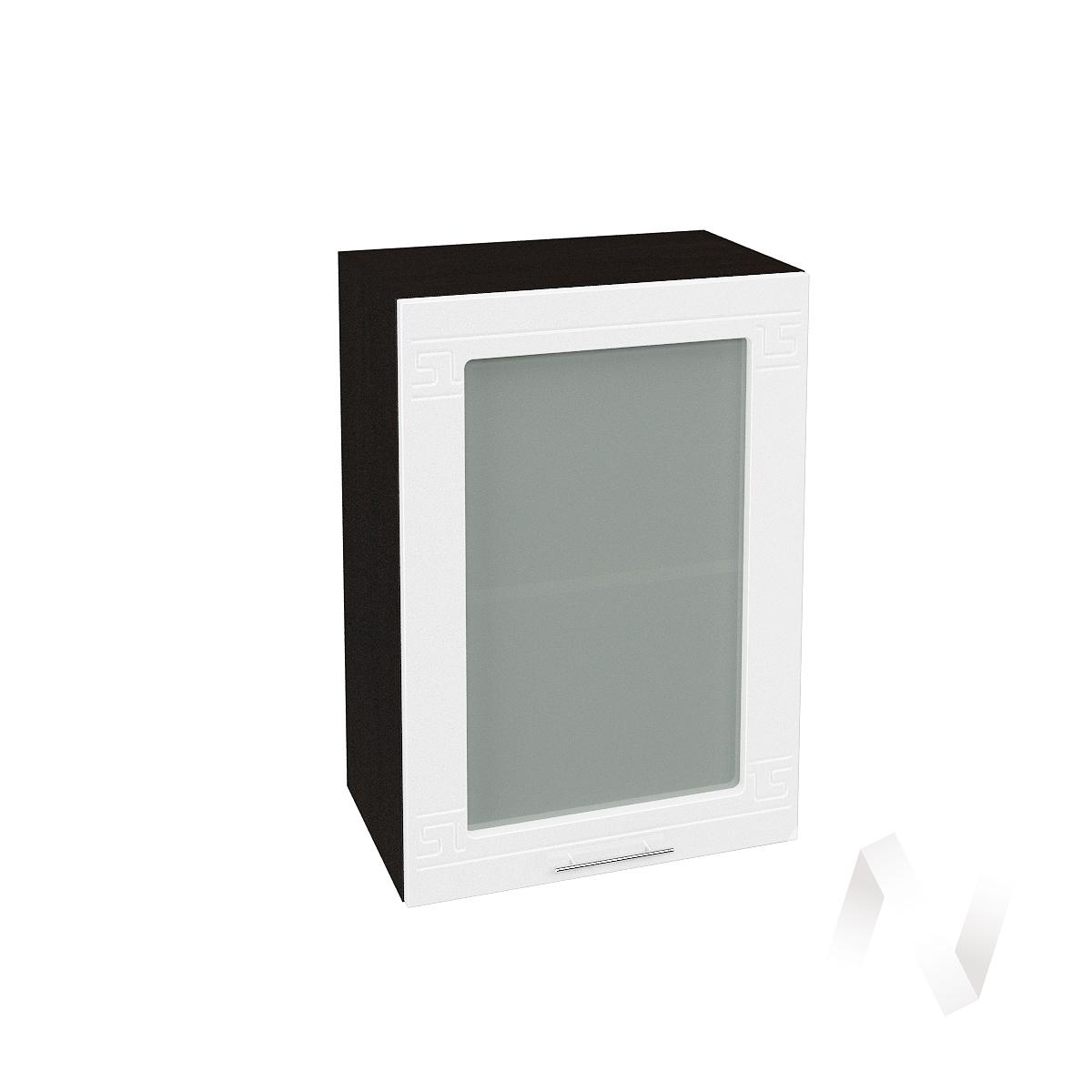 "Кухня ""Греция"": Шкаф верхний со стеклом 500, ШВС 500 (белый металлик/корпус венге)"