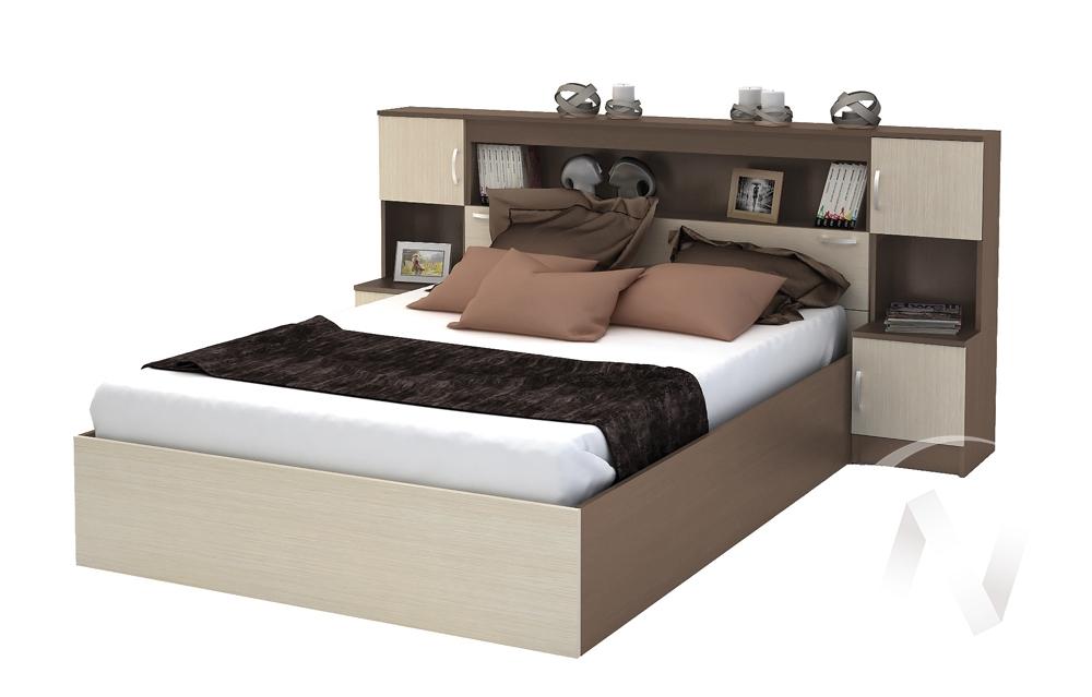 Кровать с прикроватным блоком КР 552 Спальня Бася (шимо темный/шимо светлый)