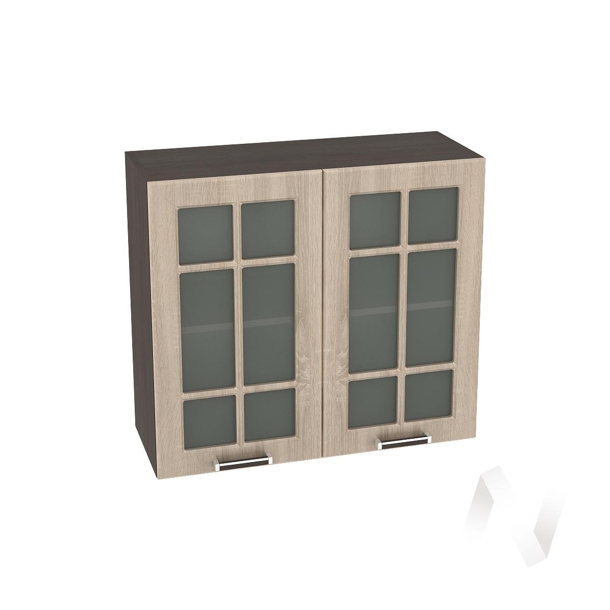 "Кухня ""Прага"": Шкаф верхний со стеклом 800, ШВС 800 (дуб сонома/корпус венге)"