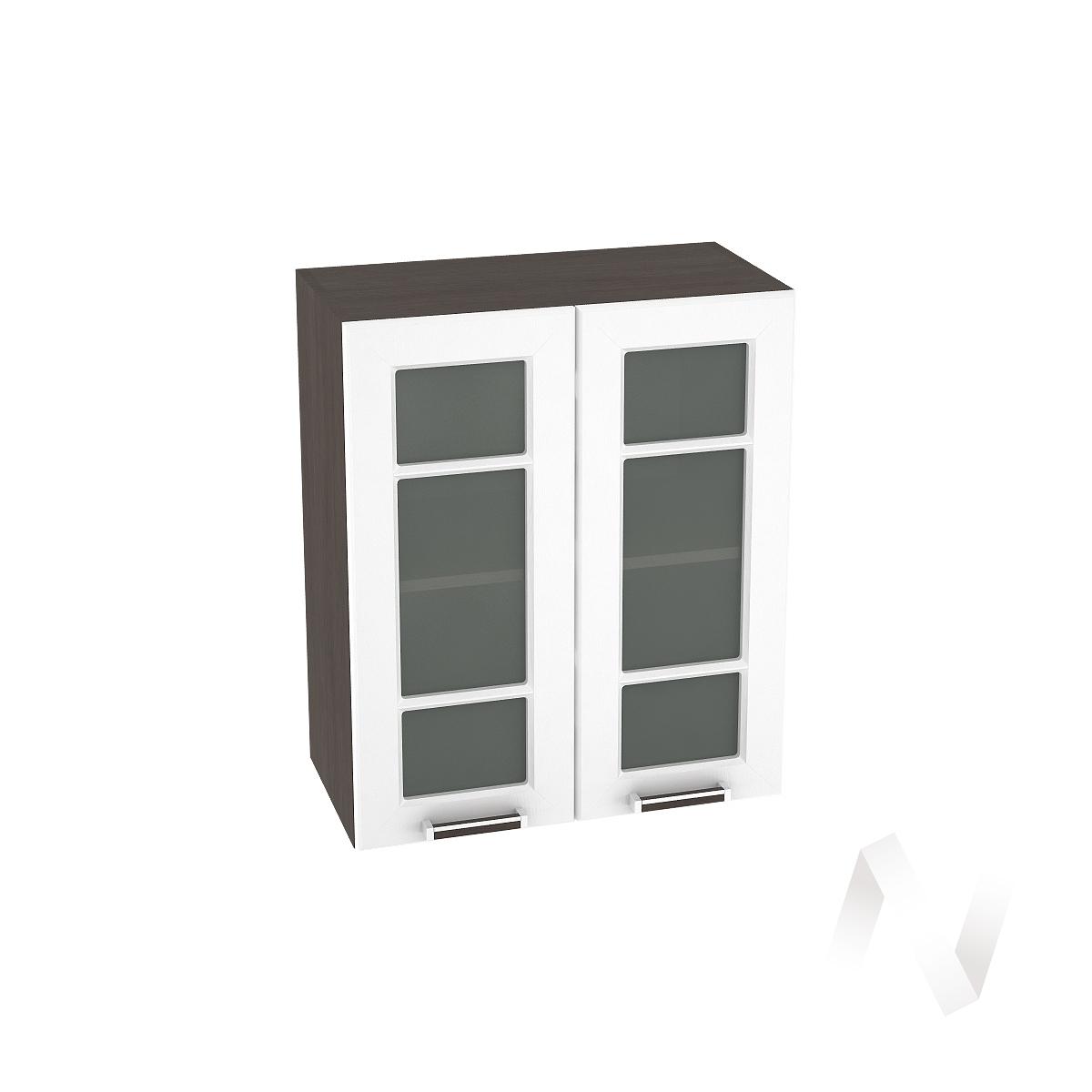 """Кухня """"Прага"""": Шкаф верхний со стеклом 600, ШВС 600 (белое дерево/корпус венге)"""