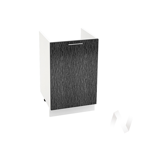 """Кухня """"Валерия-М"""": Шкаф нижний под мойку 500, ШНМ 500 (дождь черный/корпус белый)"""