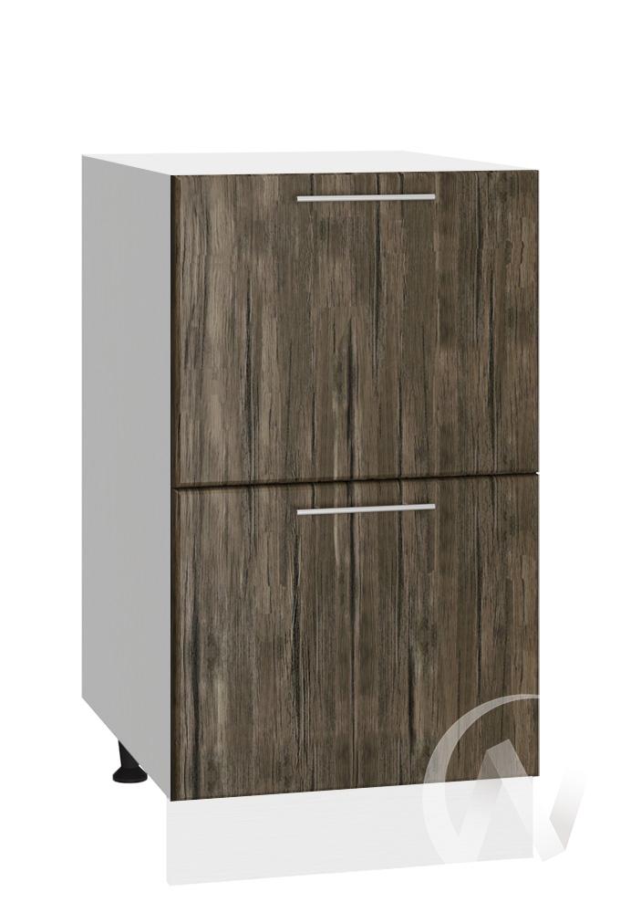 """Кухня """"Норден"""": Шкаф нижний с 2-мя ящиками 400, ШН2Я 400 (старое дерево/корпус белый)"""