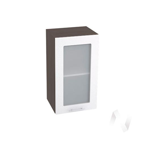 """Кухня """"Валерия-М"""": Шкаф верхний со стеклом 400, ШВС 400 (белый металлик/корпус венге)"""