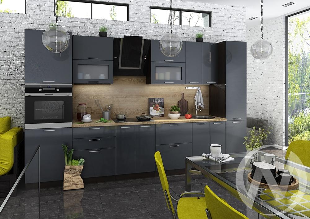 "Кухня ""Валерия-М"": Антрацит глянец (корпус венге)"
