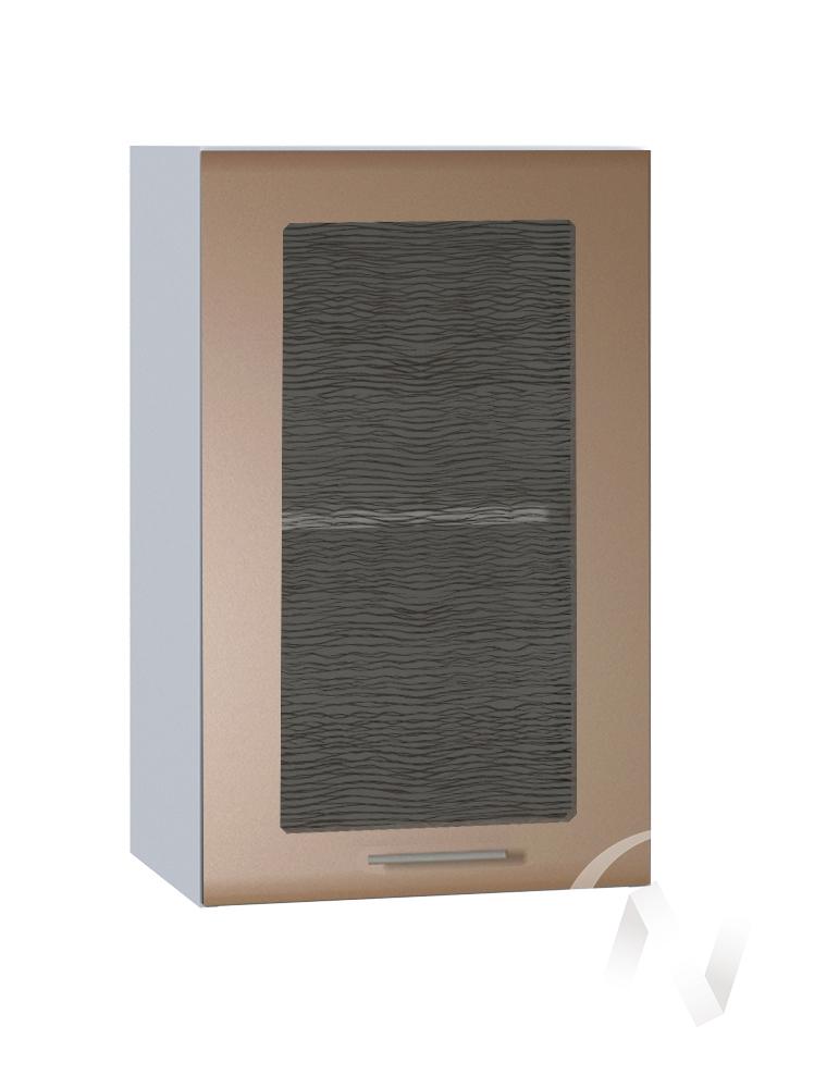 """Кухня """"Люкс"""": Шкаф верхний со стеклом 400, ШВС 400 (Шоколад матовый/корпус белый)"""