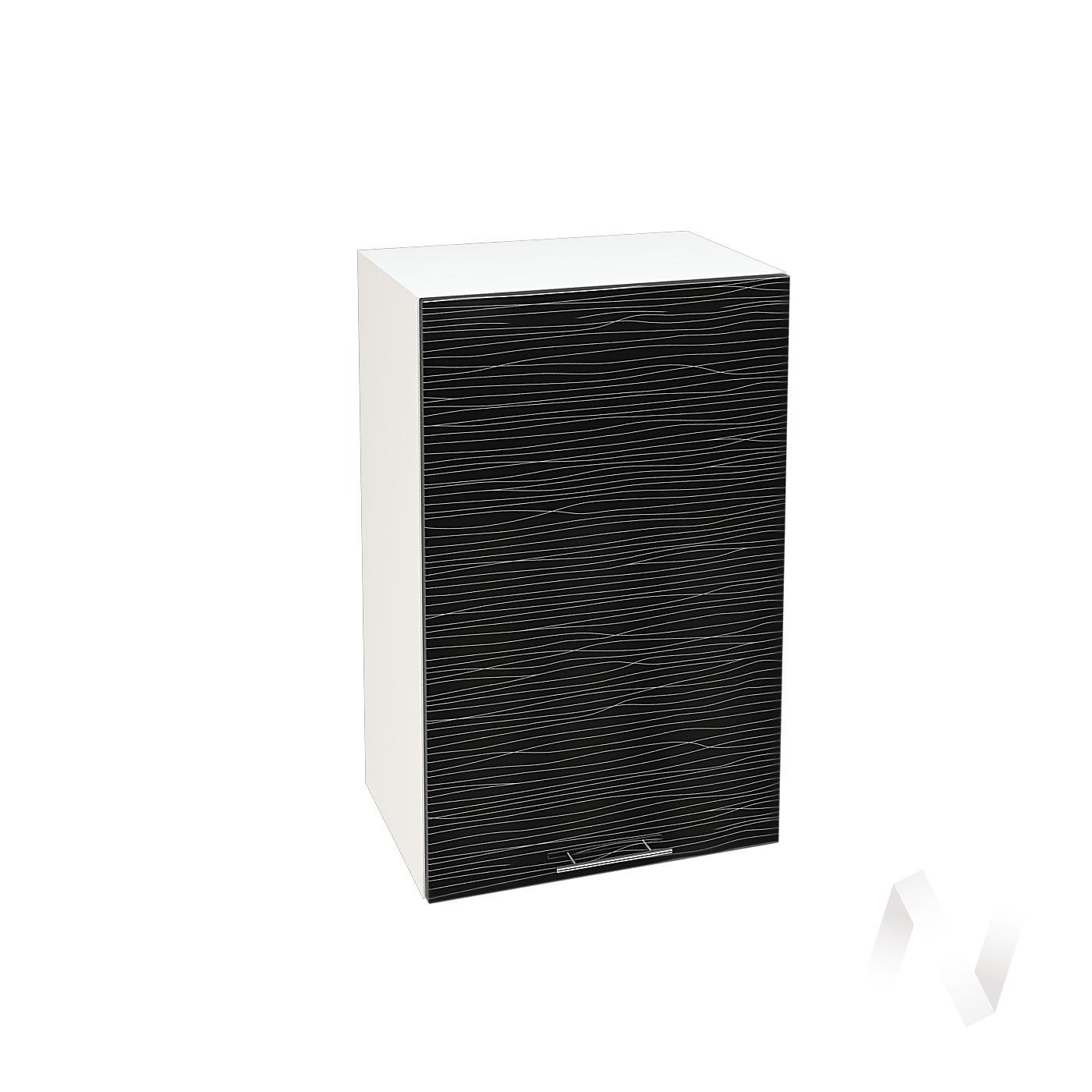 """Кухня """"Валерия-М"""": Шкаф верхний 450, ШВ 450 (Страйп черный/корпус белый)"""