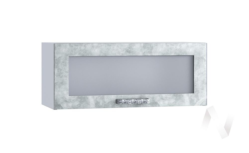 """Кухня """"Лофт"""": Шкаф верхний горизонтальный со стеклом 800, ШВГС 800 (Бетон серый/корпус белый)"""