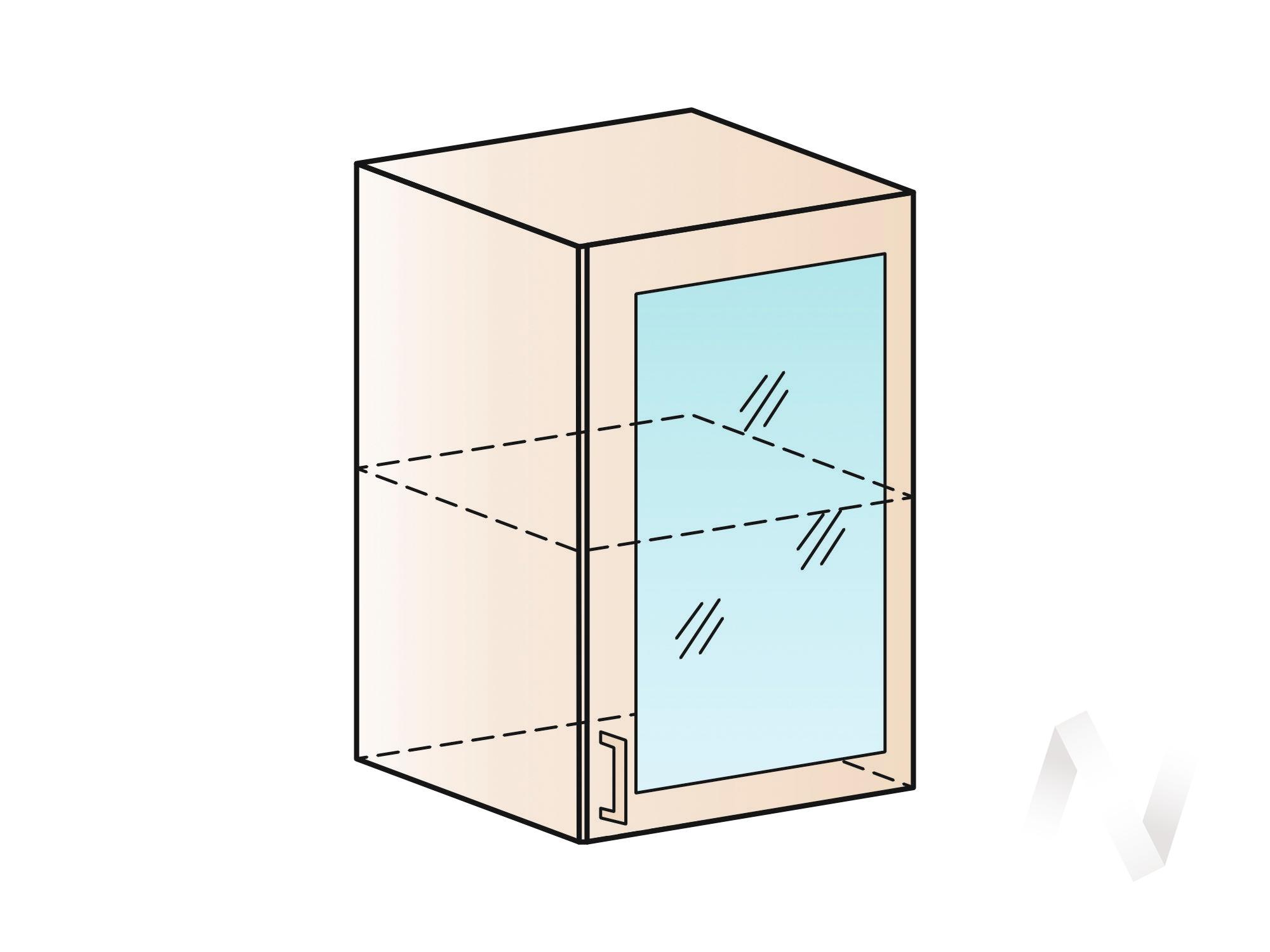 """Кухня """"Люкс"""": Шкаф верхний со стеклом 500, ШВС 500 (Шелк жемчуг/корпус венге) в Томске — авторская мебель Экостиль"""