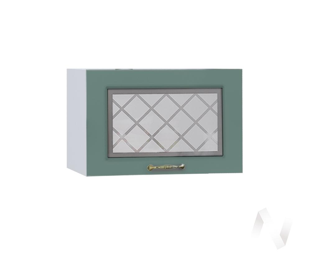 """Кухня """"Селена"""": Шкаф верхний горизонтальный со стеклом 500, ШВГС 500 (Дуб бирюзовый/корпус белый)"""