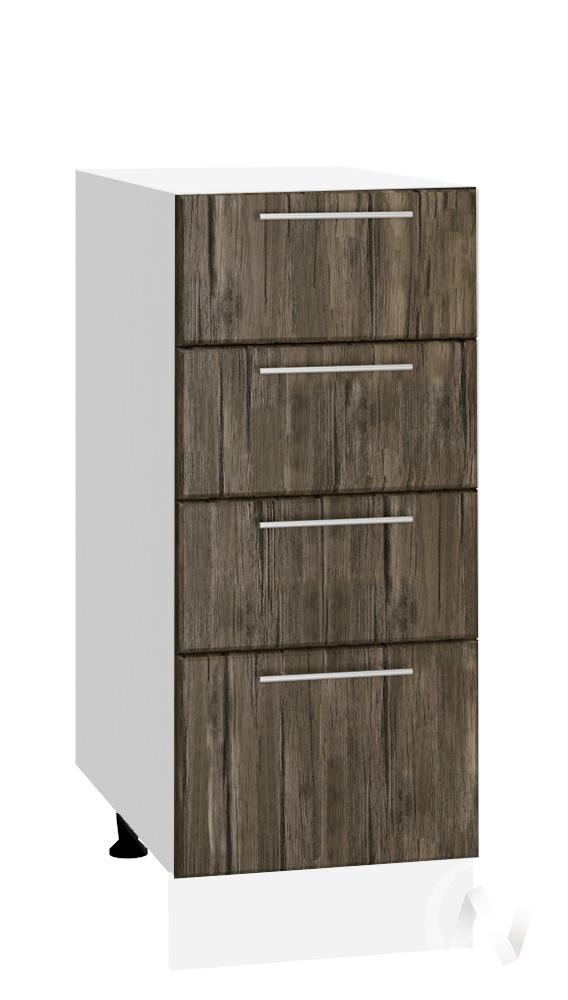 """Кухня """"Норден"""": Шкаф нижний с 4-мя ящиками 300, ШН4Я 300 (старое дерево/корпус белый)"""
