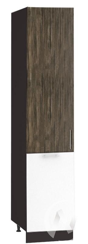 "Кухня ""Норден"": Шкаф пенал 400, ШП 400 (старое дерево/белый глянец/корпус венге)"