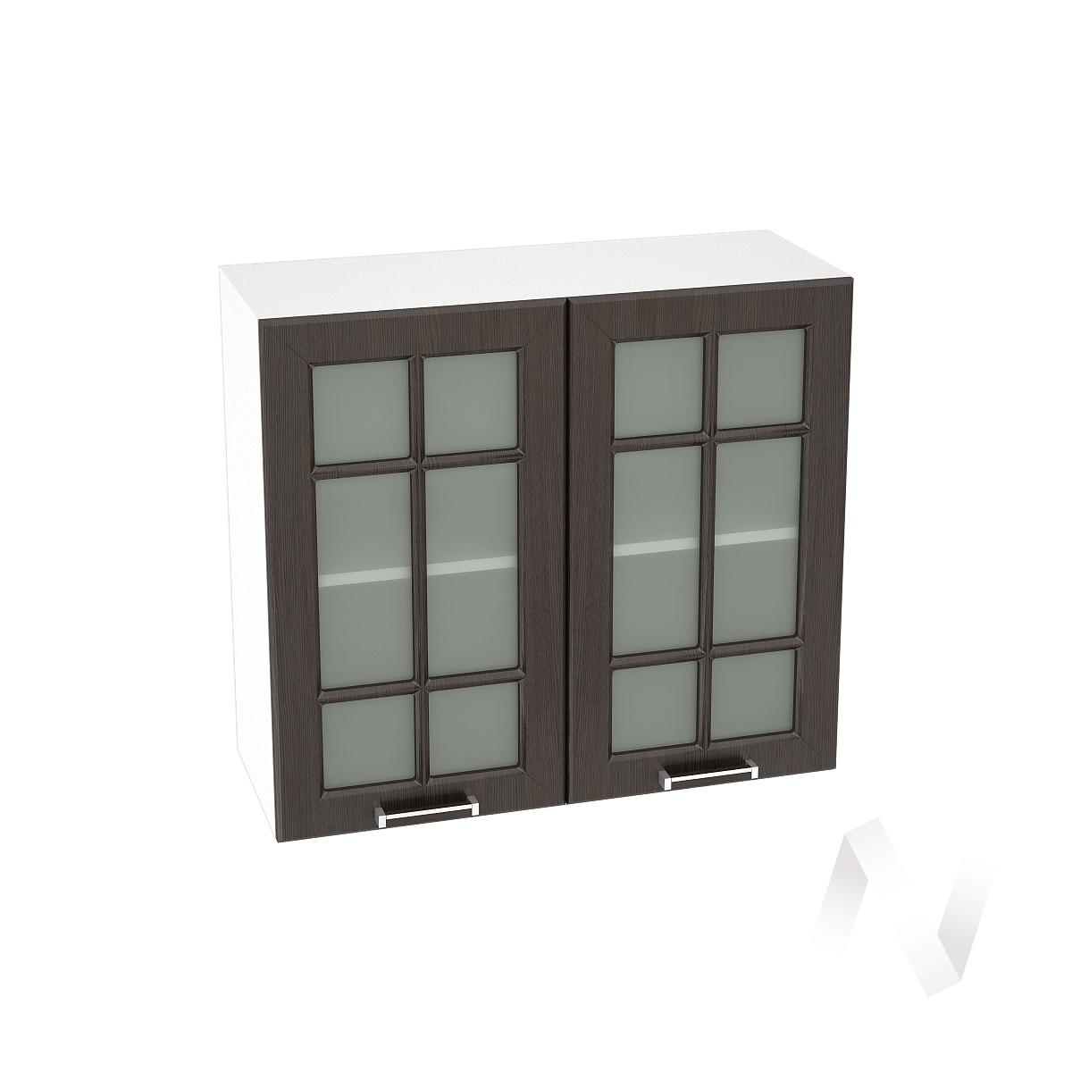 """Кухня """"Прага"""": Шкаф верхний со стеклом 800, ШВС 800 (венге/корпус белый)"""
