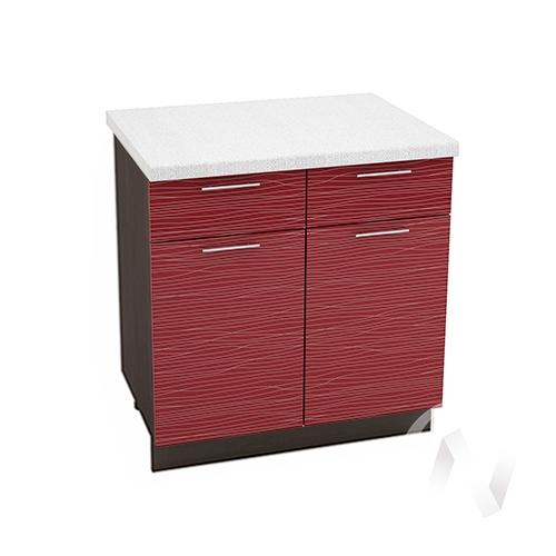 """Кухня """"Валерия-М"""": Шкаф нижний с ящиками 800, ШН1Я 800 (Страйп красный/корпус венге)"""