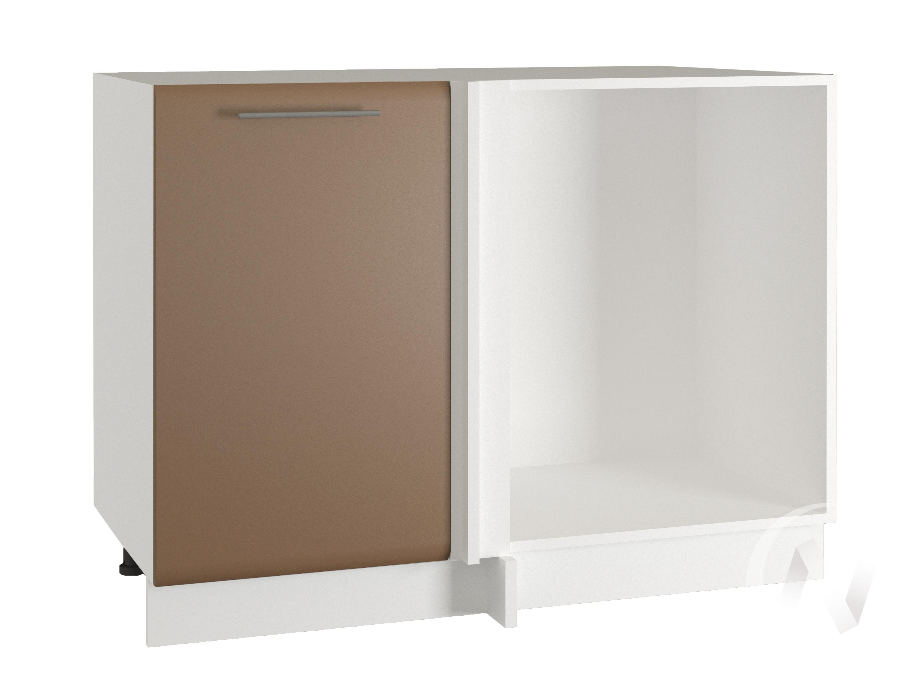 """Кухня """"Люкс"""": Шкаф нижний угловой 990, ШНУ 990 (Шоколад матовый/корпус белый)"""