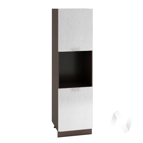 "Кухня ""Валерия-М"": Шкаф пенал 600, ШП 600 (дождь серый/корпус венге)"