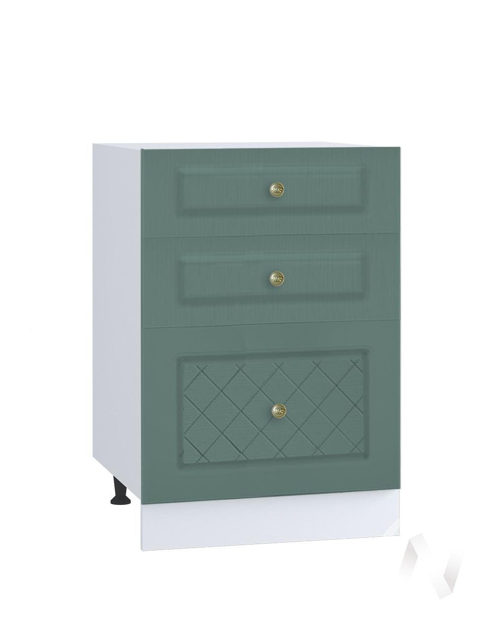 """Кухня """"Селена"""": Шкаф нижний с 3-мя ящиками 500, ШН3Я 500 (Дуб бирюзовый/корпус белый)"""