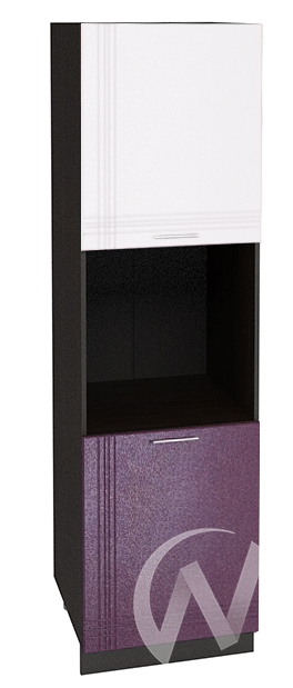 """Кухня """"Струна"""": Шкаф пенал 600, ШП 600 (белый/фиолетовый металлик/корпус венге)"""