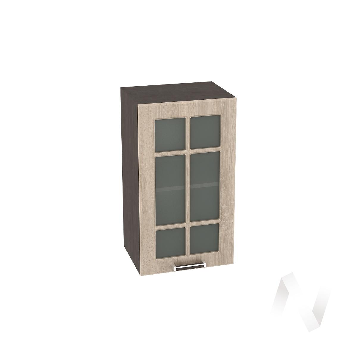 "Кухня ""Прага"": Шкаф верхний со стеклом 400, ШВС 400 (дуб сонома/корпус венге)"