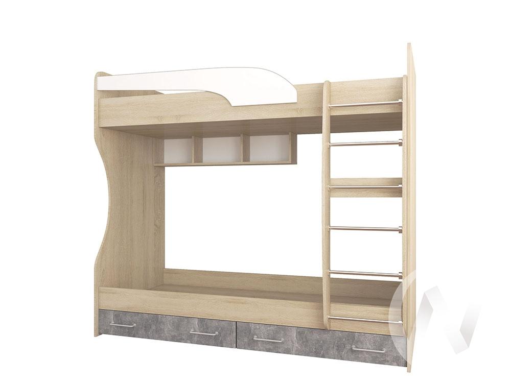 Кровать двойная Лофт Детская Колибри (дуб сонома/ателье светлое,акрил белый)