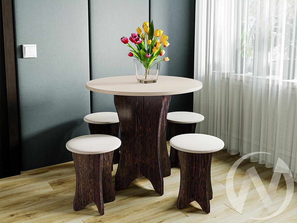 Обеденная группа тип 6 кожзам (венге,дуб молочный/бежевый)  в Томске — интернет магазин МИРА-мебель