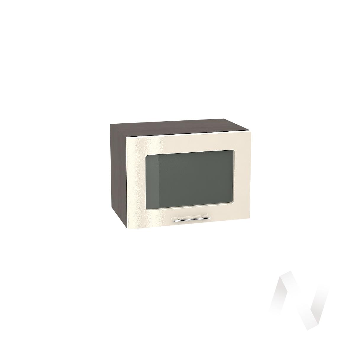 """Кухня """"Валерия-М"""": Шкаф верхний горизонтальный со стеклом 500, ШВГС 500 (Ваниль глянец/корпус венге)"""