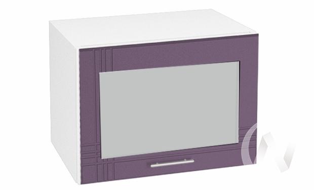"""Кухня """"Струна"""": Шкаф верхний горизонтальный со стеклом 500, ШВГС 500 (фиолет. металик/корпус белый)"""