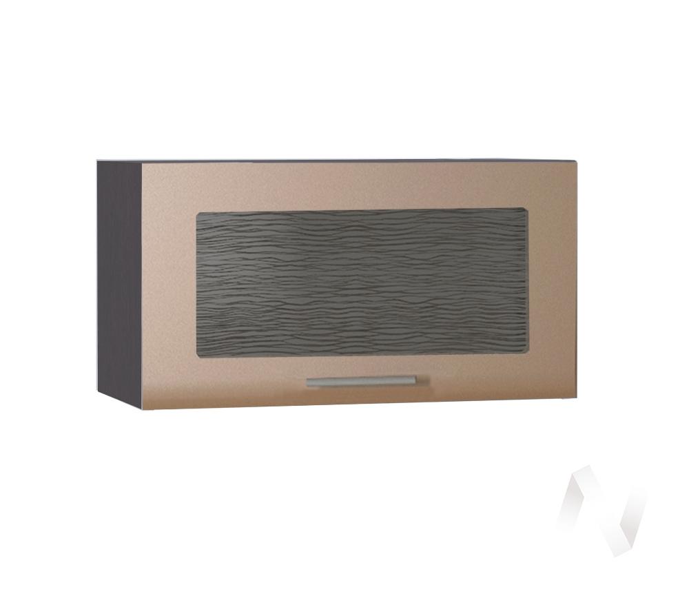 """Кухня """"Люкс"""": Шкаф верхний горизонтальный со стеклом 600, ШВГС 600 (Шоколад матовый/корпус венге)"""