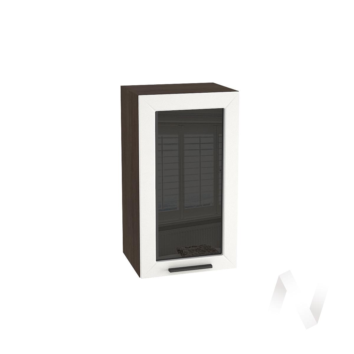 """Кухня """"Глетчер"""": Шкаф верхний со стеклом 400, ШВС 400 (Айленд Силк/корпус венге)"""