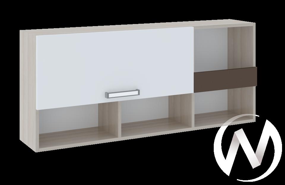 Полка 1 Walker М10 (ясень шимо светлый/белый)  в Томске — интернет магазин МИРА-мебель
