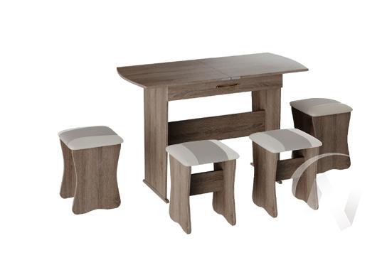 Обеденная группа тип 2 кожзам (дуб сонома трюфель/серый,белый)  в Томске — интернет магазин МИРА-мебель