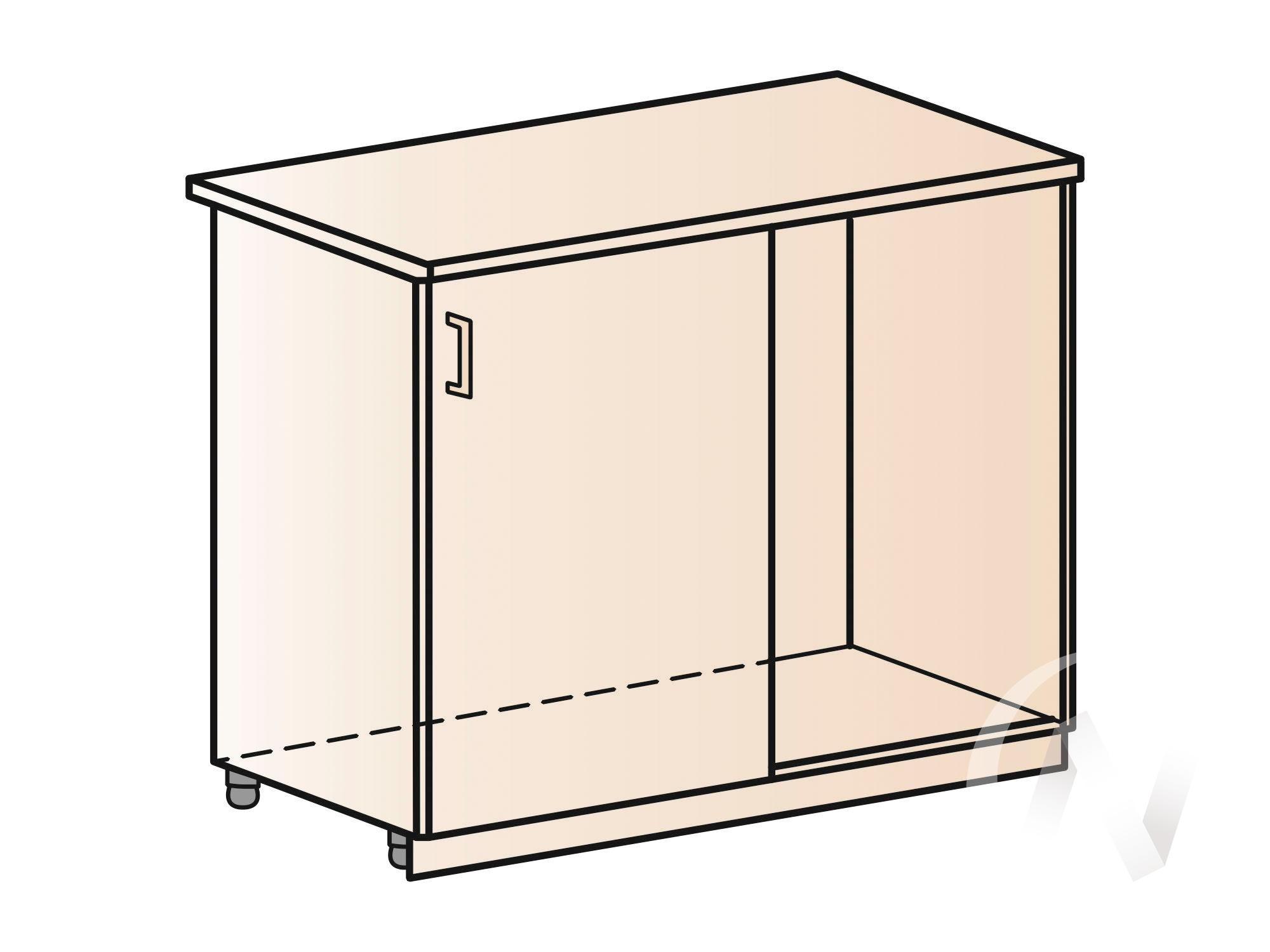 """Кухня """"Люкс"""": Шкаф нижний угловой 990, ШНУ 990 (Шелк венге/корпус белый) в Томске — авторская мебель Экостиль"""