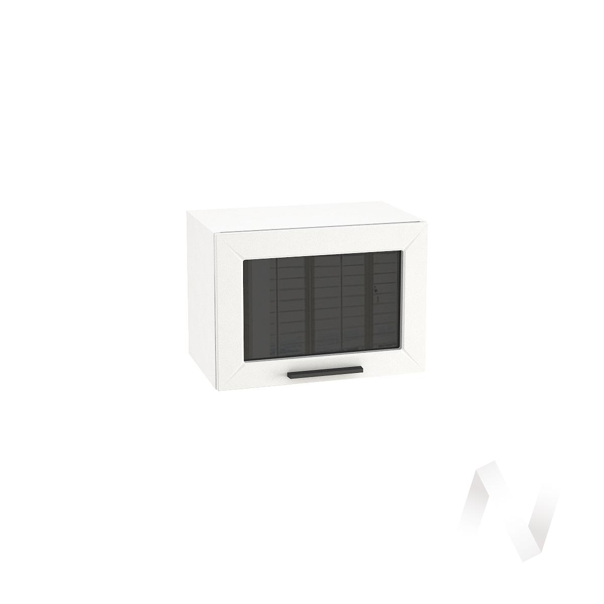 """Кухня """"Глетчер"""": Шкаф верхний горизонтальный со стеклом 500, ШВГС 500 (Айленд силк/корпус белый)"""