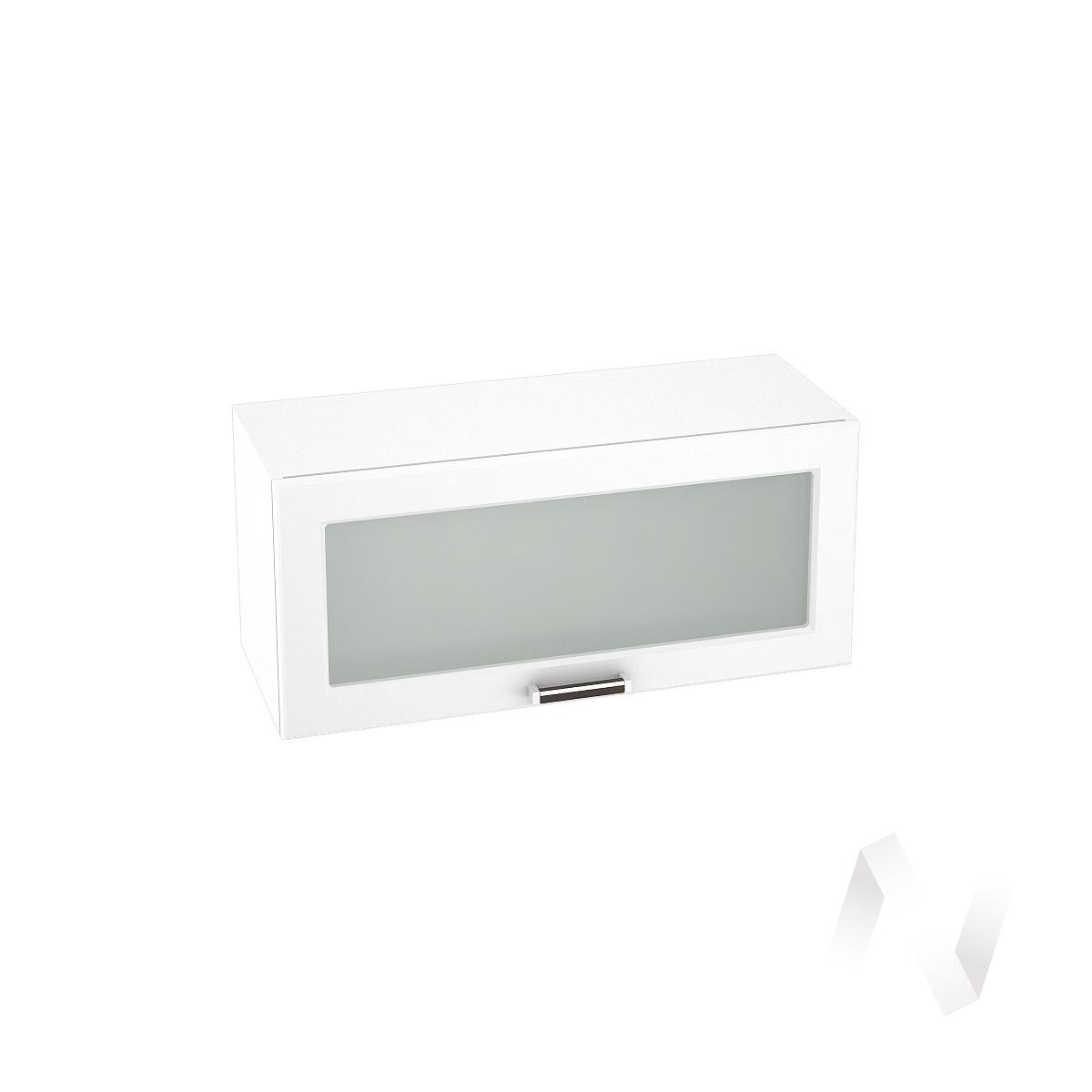 """Кухня """"Прага"""": Шкаф верхний горизонтальный со стеклом 800, ШВГС 800 (белое дерево/корпус белый)"""