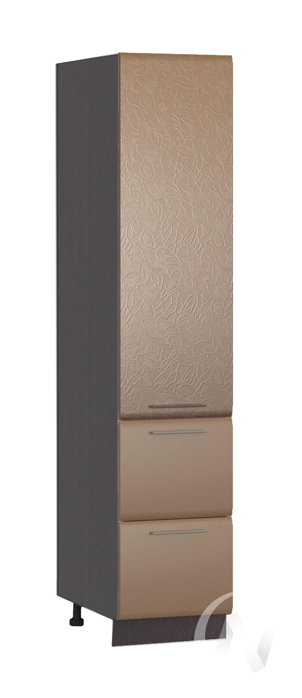 """Кухня """"Люкс"""": Шкаф пенал с 2-мя ящиками 400, ШП2Я 400 (Магнолия мат./Шоколад матовый/корпус белый)"""