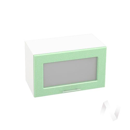"""Кухня """"Вега"""": Шкаф верхний горизонтальный со стеклом 600, ШВГС 600 (салатовый металлик/корпус белый)"""