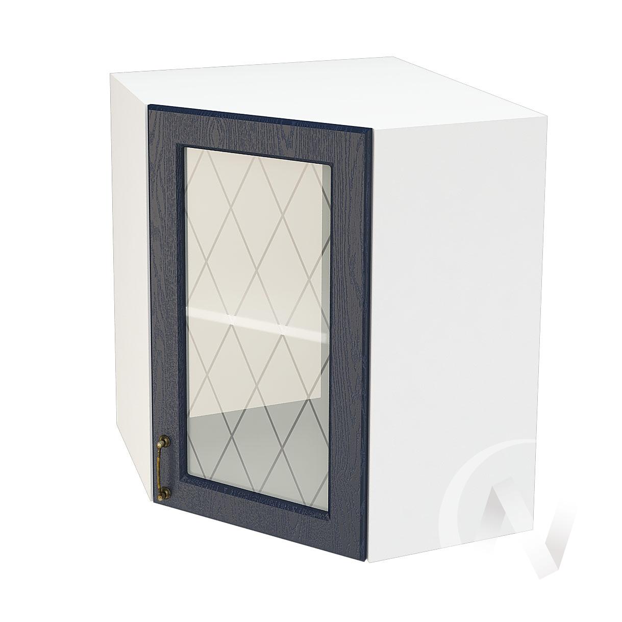 """Кухня """"Ницца"""": Шкаф верхний угловой со стеклом 590, ШВУС 590 (Дуб чернильный/корпус белый)"""