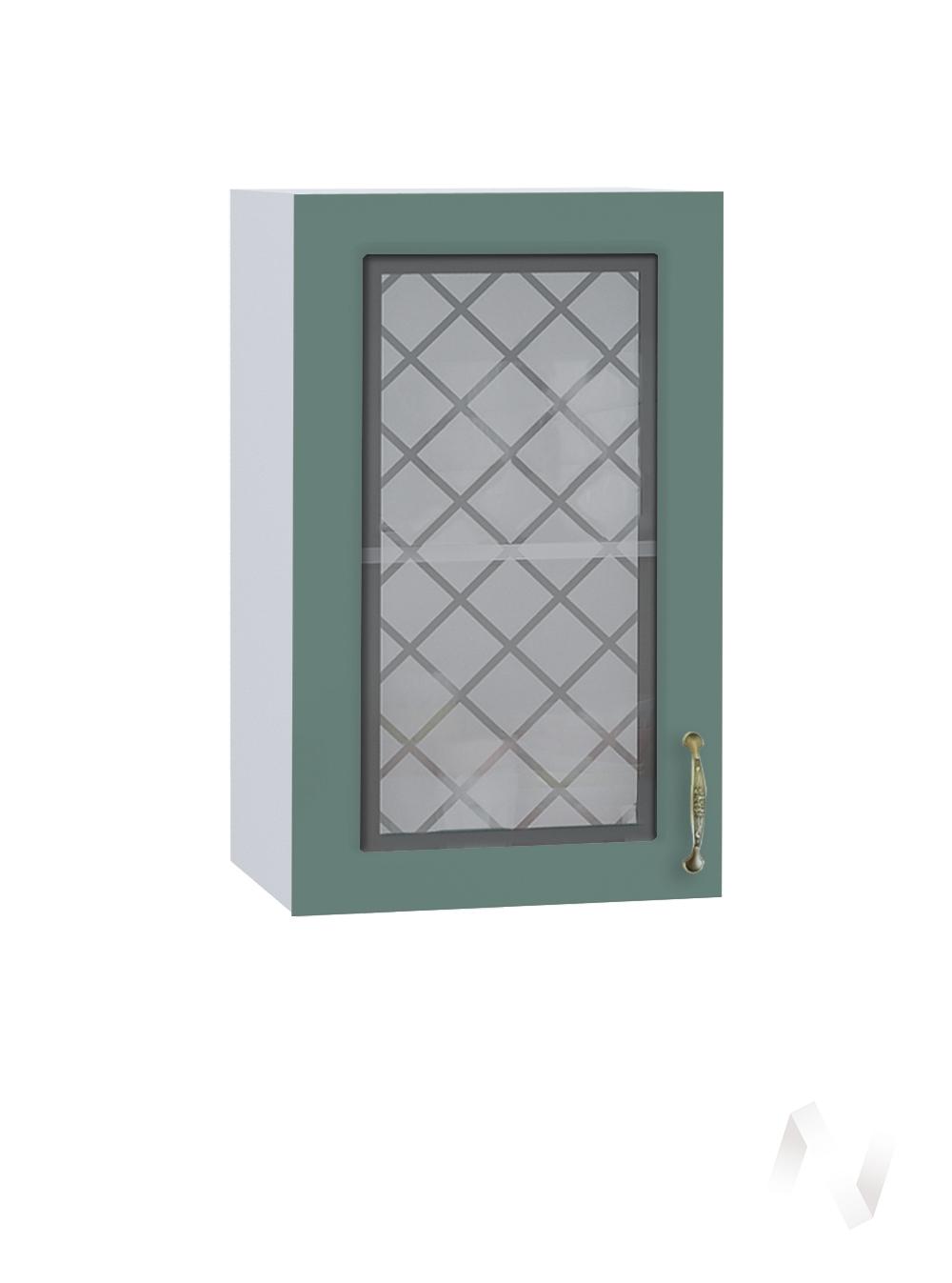 """Кухня """"Селена"""": Шкаф верхний со стеклом 400, ШВС 400 (Дуб бирюзовый/корпус белый)"""