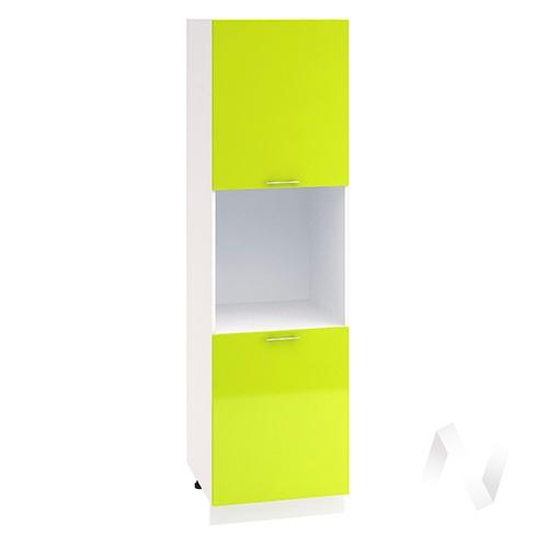 """Кухня """"Валерия-М"""": Шкаф пенал 600, ШП 600 (лайм глянец/корпус белый)"""