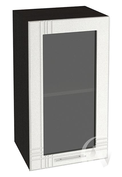 """Кухня """"Струна"""": Шкаф верхний со стеклом 400, ШВС 400 (белый металлик/корпус венге)"""