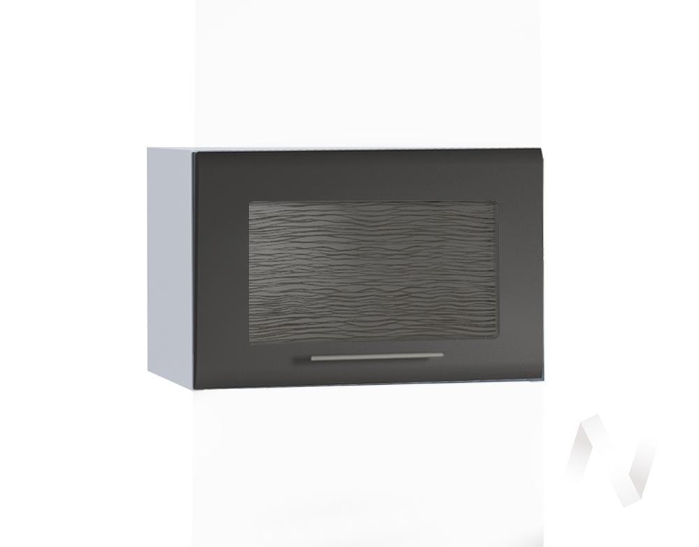 """Кухня """"Люкс"""": Шкаф верхний горизонтальный со стеклом 500, ШВГС 500 (Шелк венге/корпус белый)"""