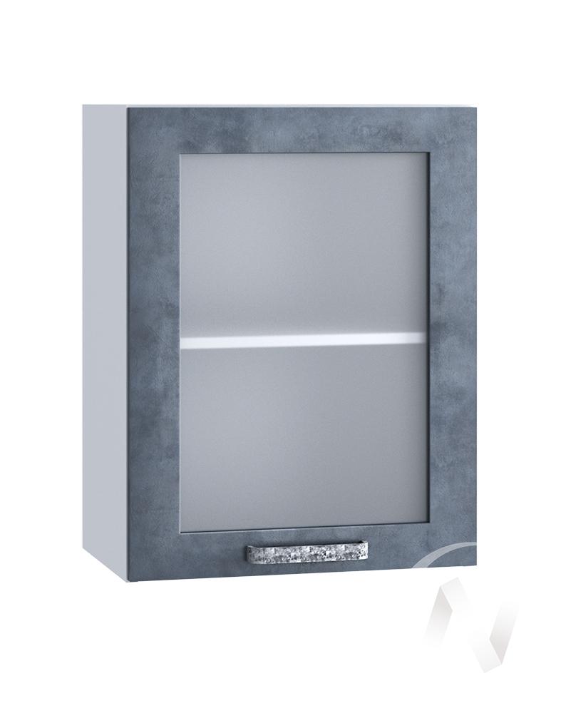 "Кухня ""Лофт"": Шкаф верхний со стеклом 500, ШВС 500 (Бетон графит/корпус белый)"