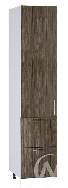 """Кухня """"Норден"""": Шкаф пенал с 2-мя ящиками 400, ШП2Я 400 (старое дерево/корпус белый)"""