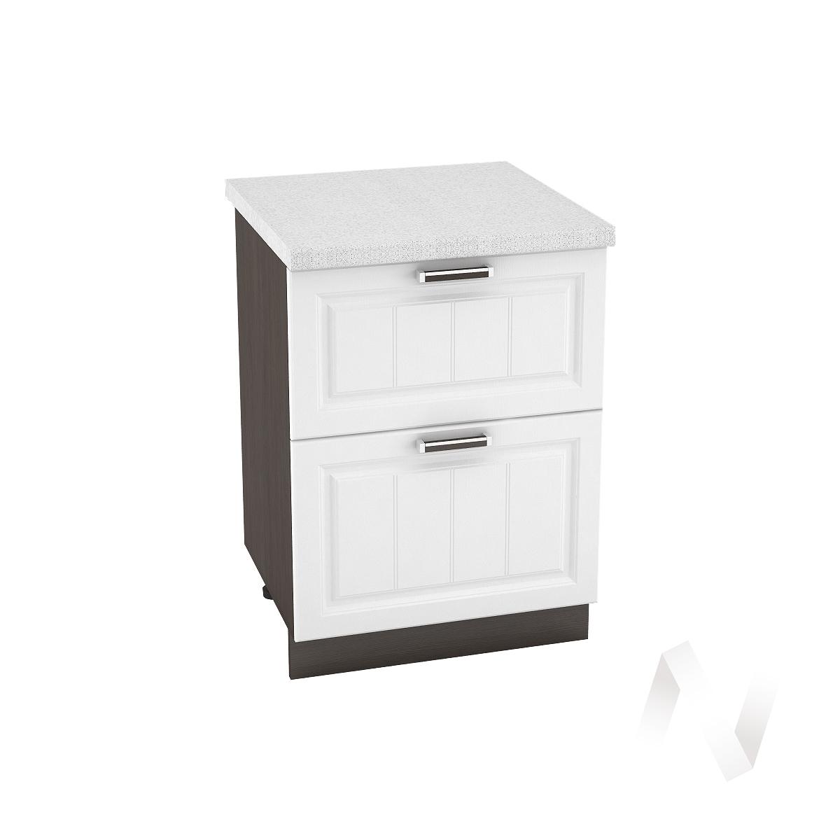"""Кухня """"Прага"""": Шкаф нижний с 2-мя ящиками 600, ШН2Я 600 (белое дерево/корпус венге)"""