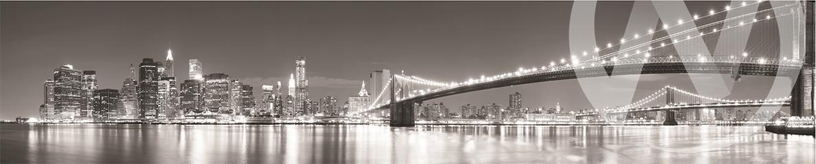 Панель декоративная ХДФ 610*2440*3 Ночные города черно-белый (1)  фф(317)