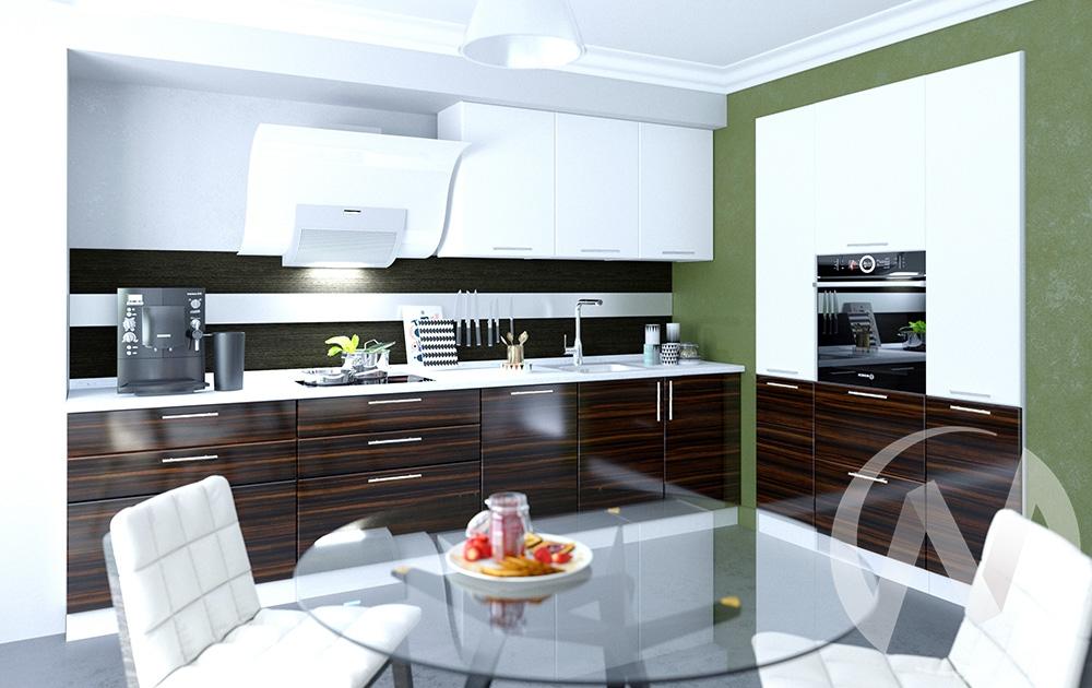 """Кухня """"Норден"""": Эбен/Белый глянец (корпус белый) в Томске — авторская мебель Экостиль"""