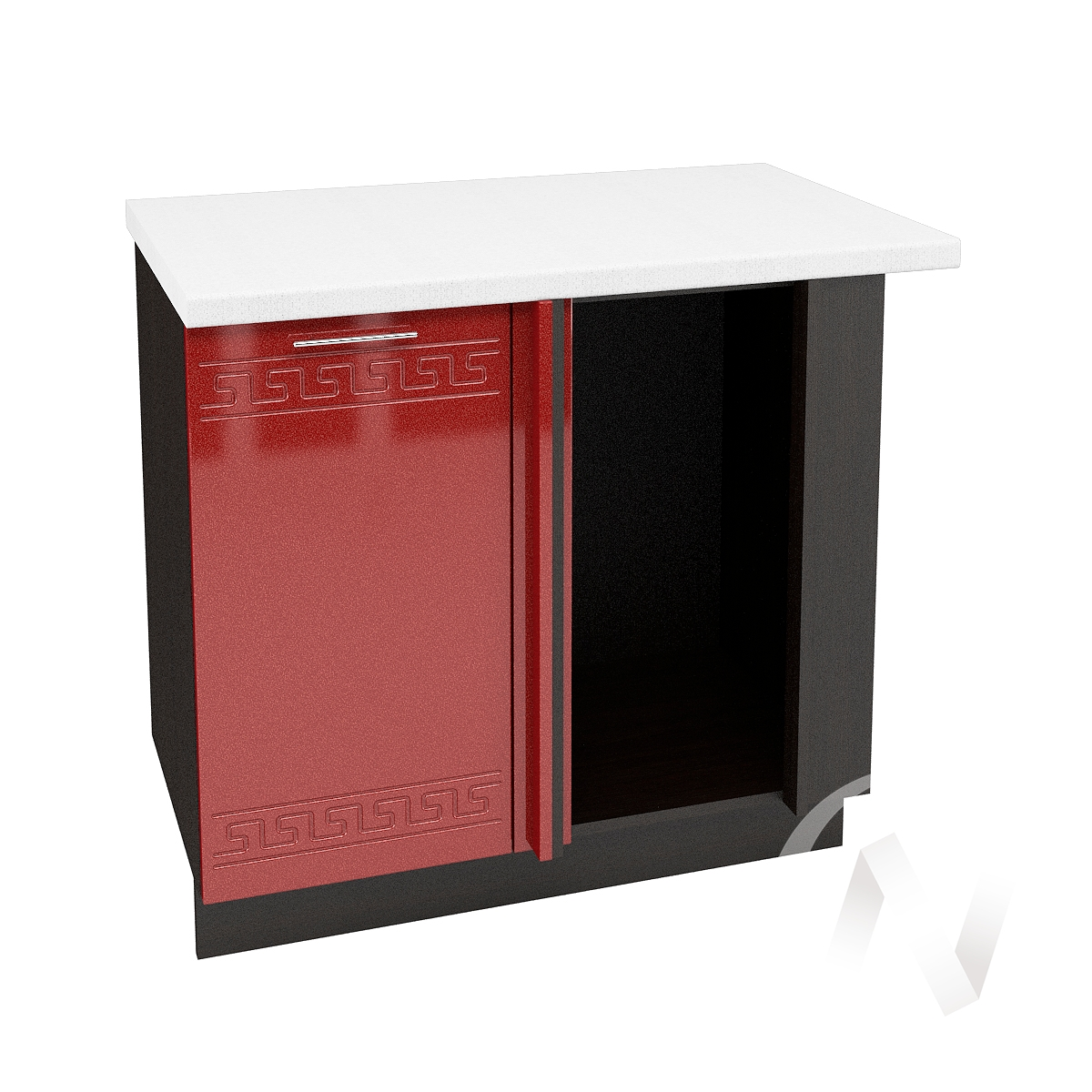 """Кухня """"Греция"""": Шкаф нижний угловой 990М, ШНУ 990М (гранатовый металлик/корпус венге)"""