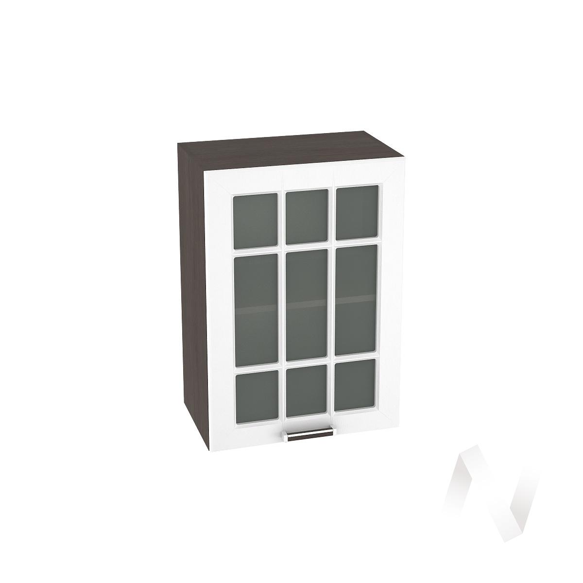 """Кухня """"Прага"""": Шкаф верхний со стеклом 500, ШВС 500 (белое дерево/корпус венге)"""