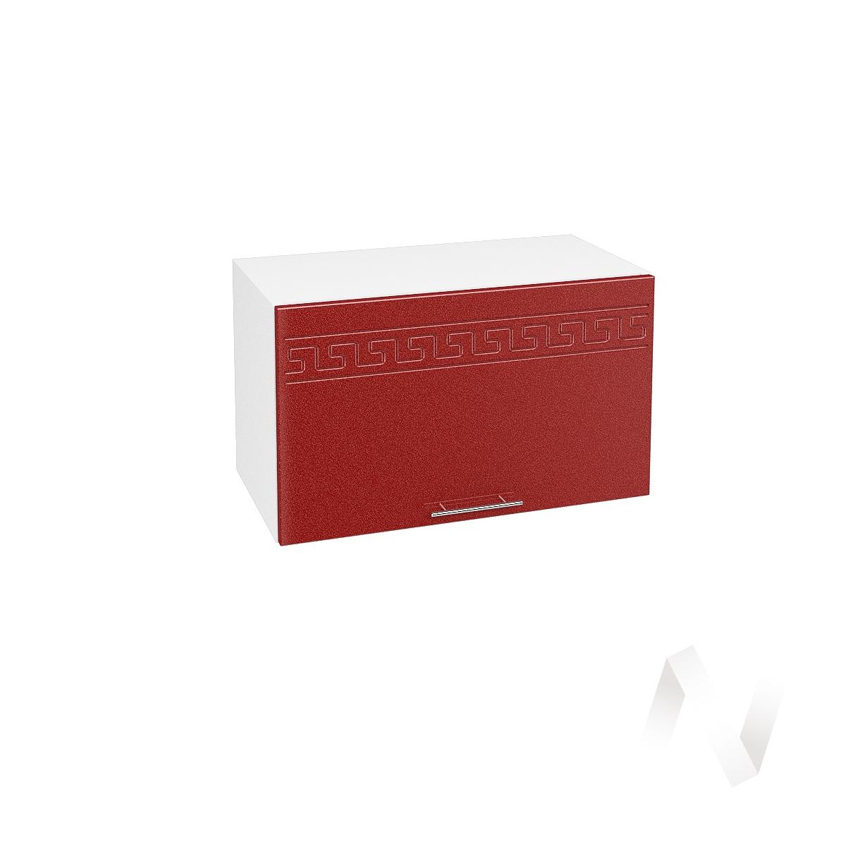 """Кухня """"Греция"""": Шкаф верхний горизонтальный 600, ШВГ 600 (гранатовый металлик/корпус белый)"""