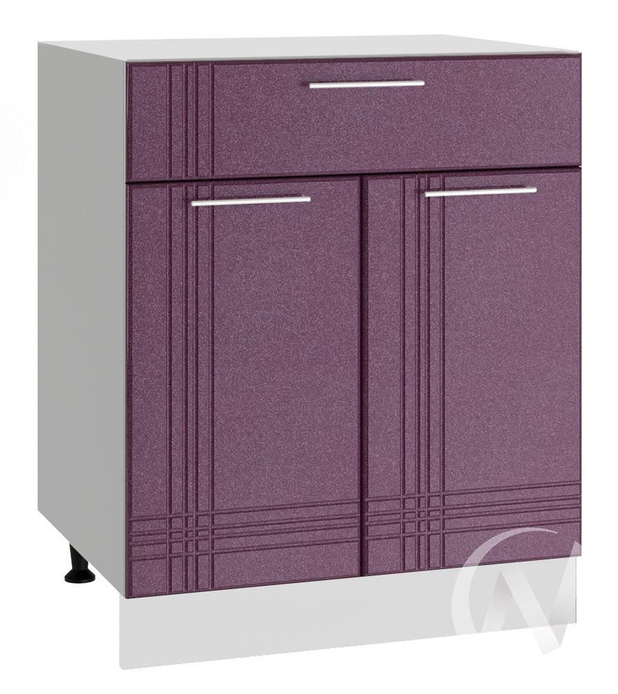 """Кухня """"Струна"""": Шкаф нижний с ящиком 600, ШН1Я 600 М (фиолетовый металлик/корпус белый)"""